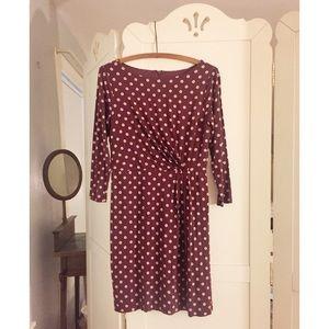 Petite dot long sleeve dress in warm violet